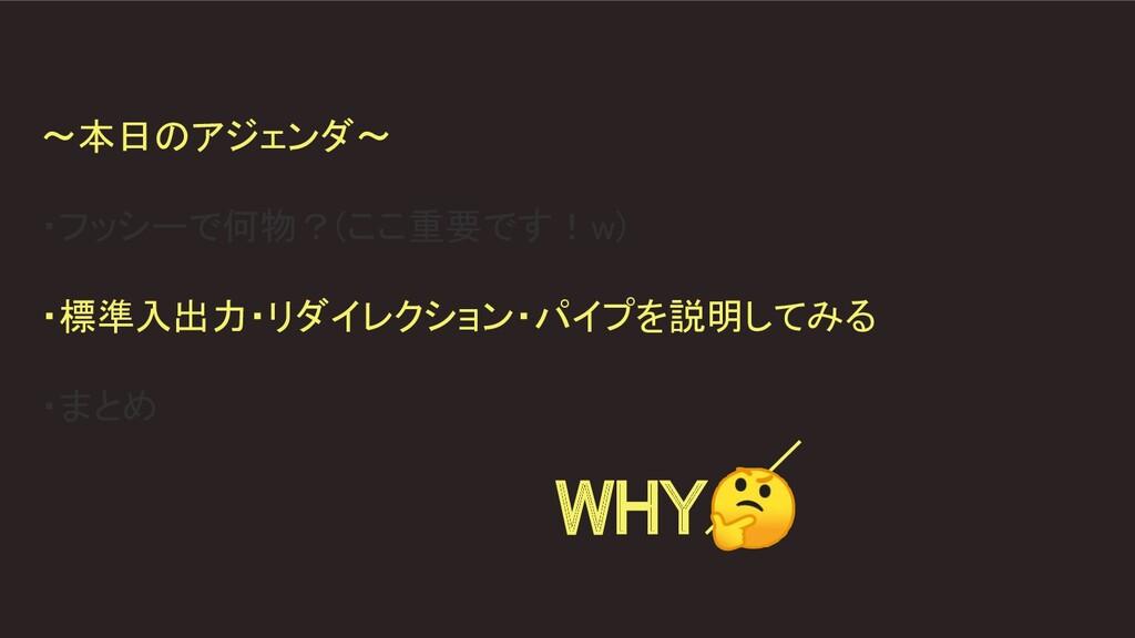 〜本日のアジェンダ〜  ・フッシーで何物?(ここ重要です!w)  ・標準入出力・リダイ...