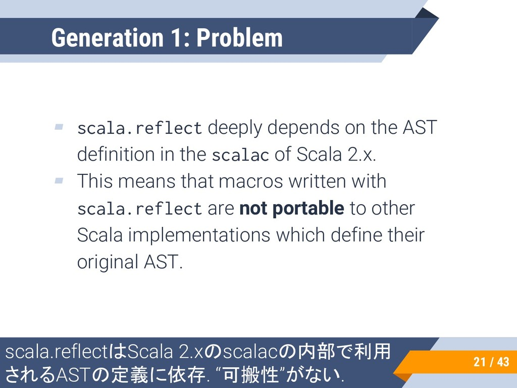 ▰ scala.reflect deeply depends on the AST defin...