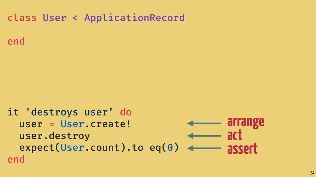 24 arrange act assert class User < ApplicationR...
