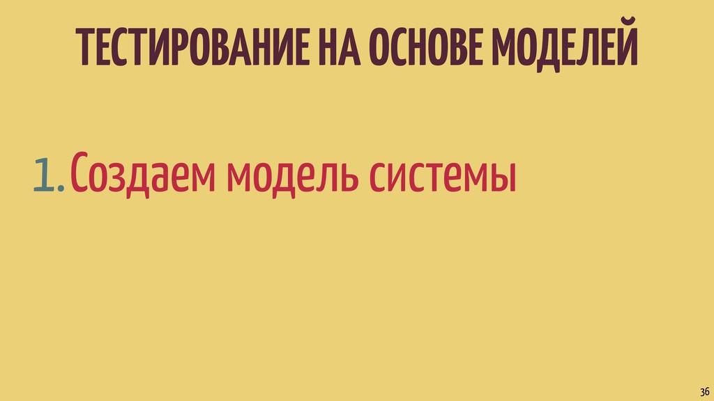 ТЕСТИРОВАНИЕ НА ОСНОВЕ МОДЕЛЕЙ 1.Создаем модель...