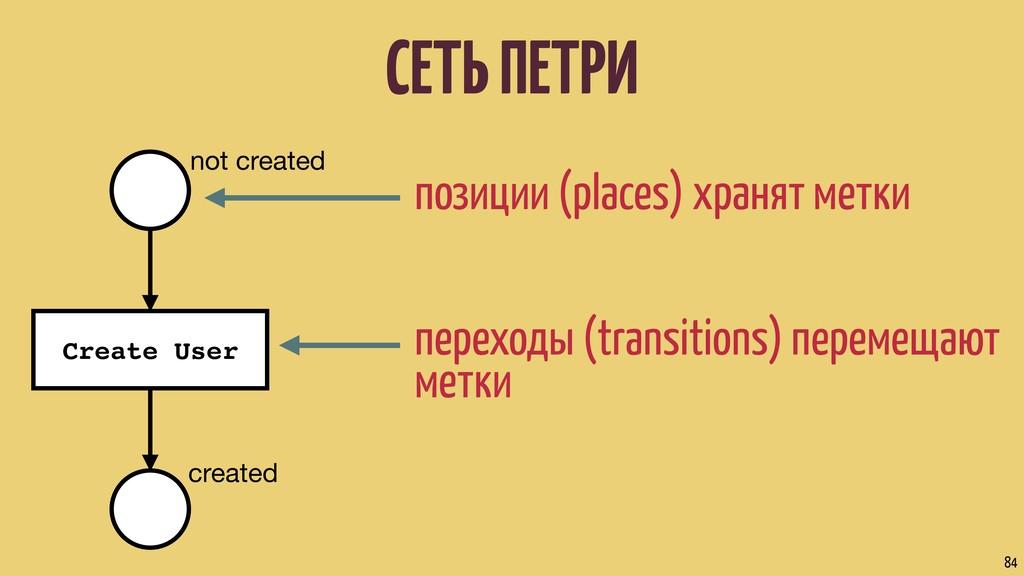 СЕТЬ ПЕТРИ 84 позиции (places) хранят метки пер...