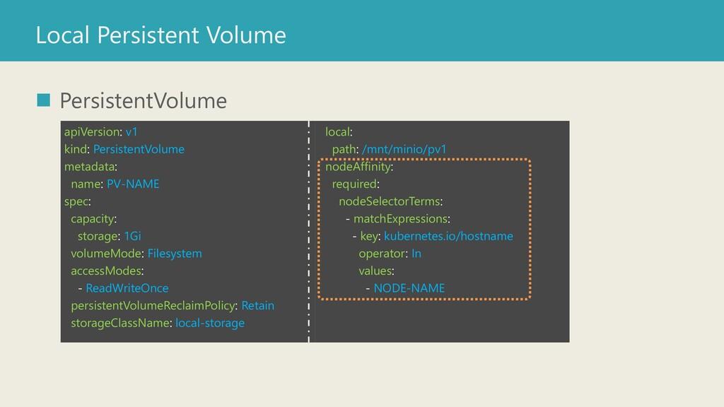 Local Persistent Volume ◼ PersistentVolume apiV...