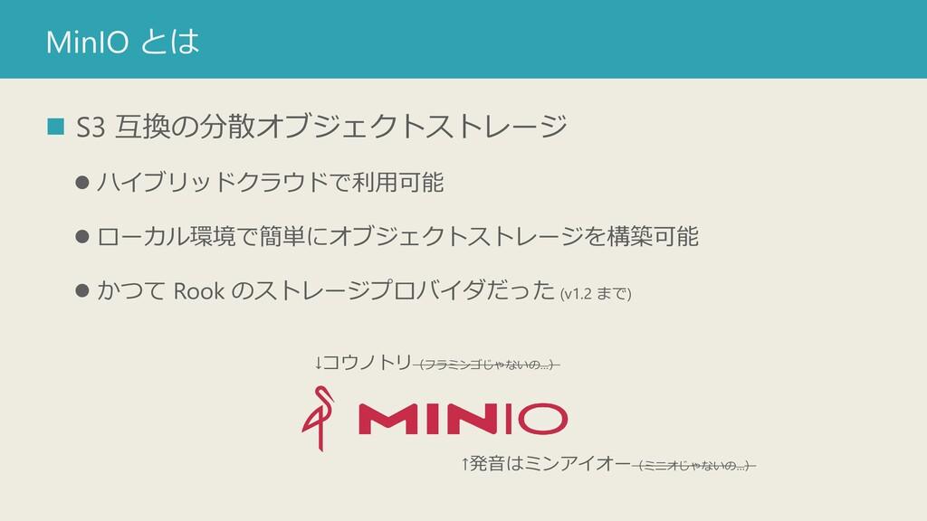 MinIO とは ◼ S3 互換の分散オブジェクトストレージ ⚫ ハイブリッドクラウドで利用可...