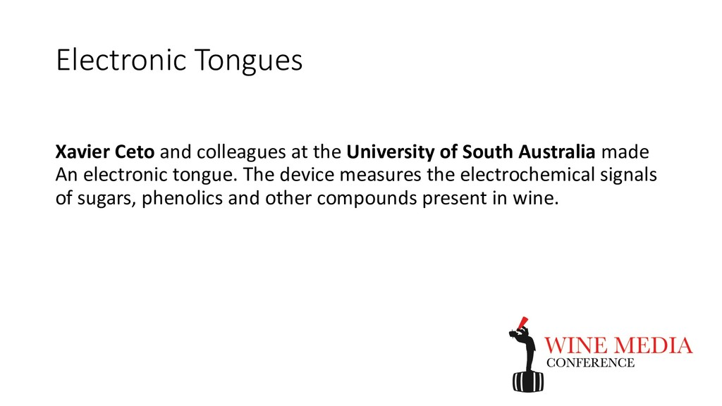 Electronic Tongues Xavier Ceto and colleagues a...