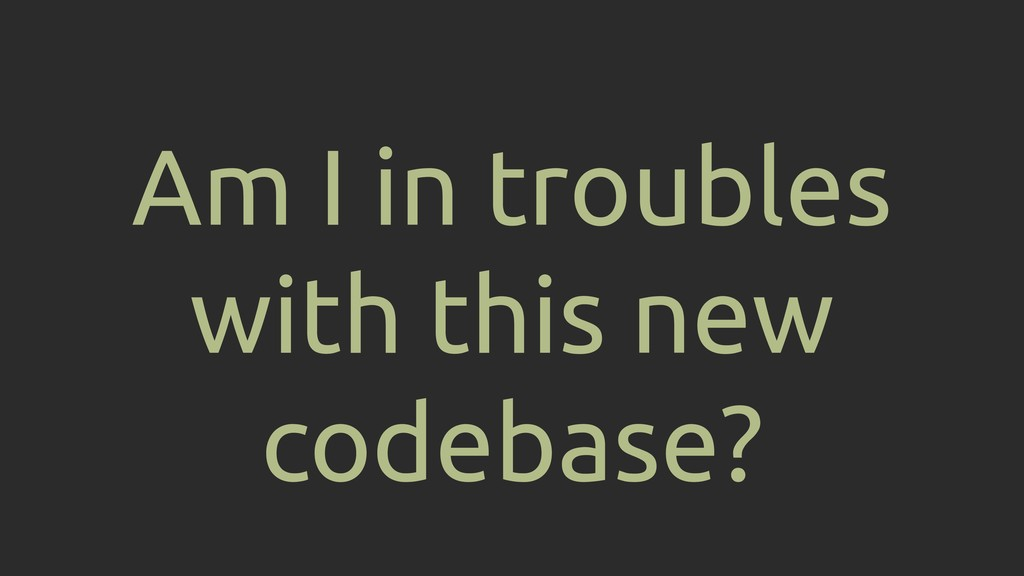 Am I in troubles with this new codebase?