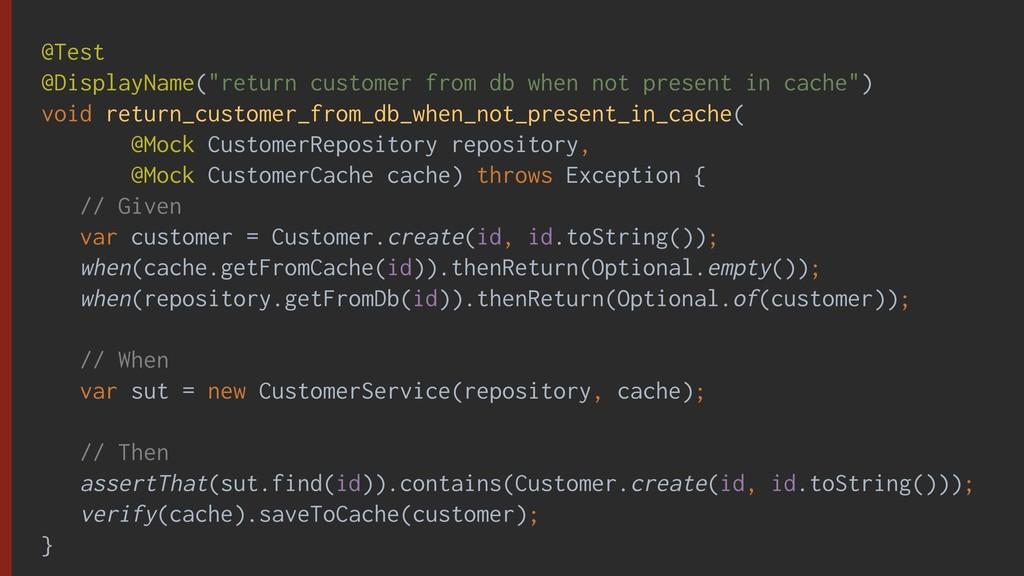 """@Test @DisplayName(""""return customer from db whe..."""
