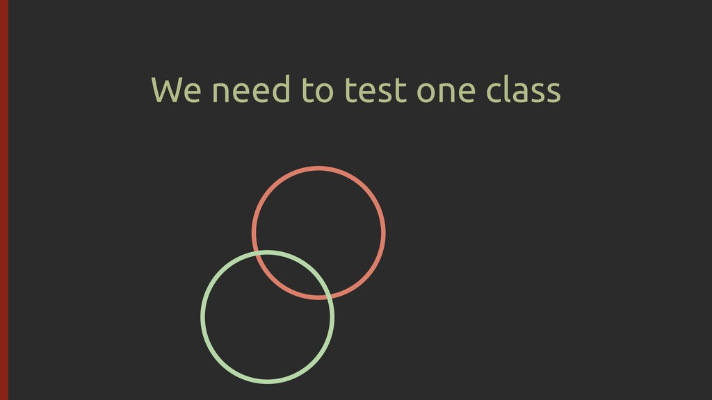 We need to test one class
