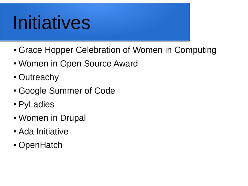 Initiatives ● Grace Hopper Celebration of Women...