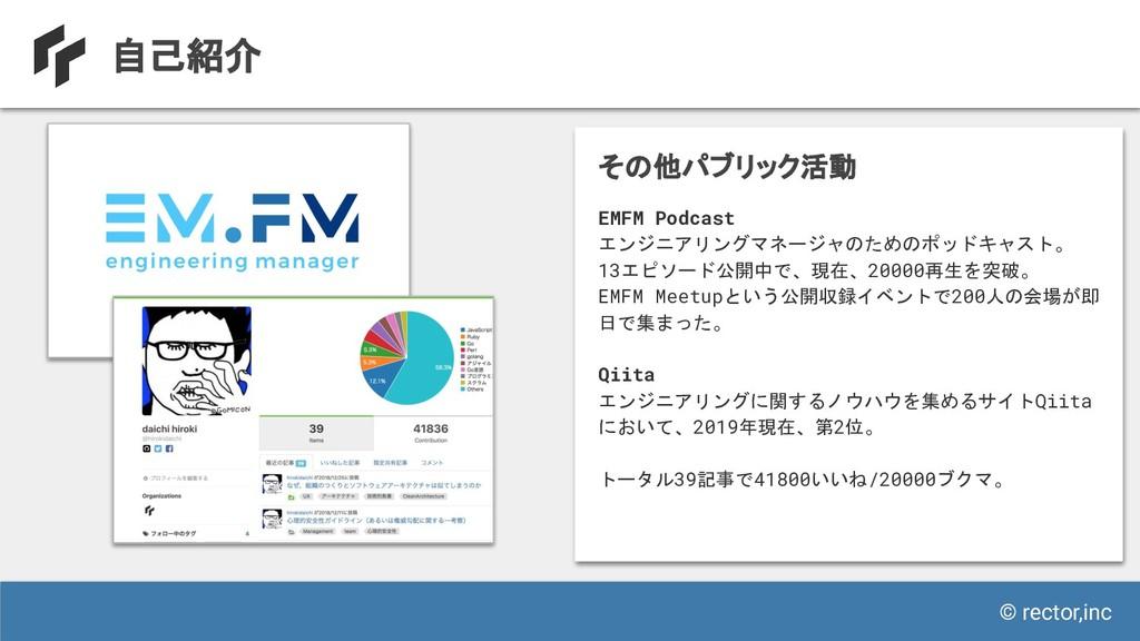 © rector,inc 自己紹介 EMFM Podcast エンジニアリングマネージャのため...