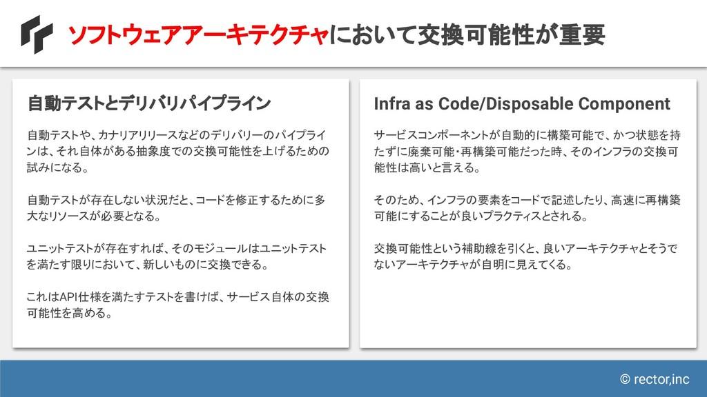© rector,inc ソフトウェアアーキテクチャにおいて交換可能性が重要 自動テストや、カ...