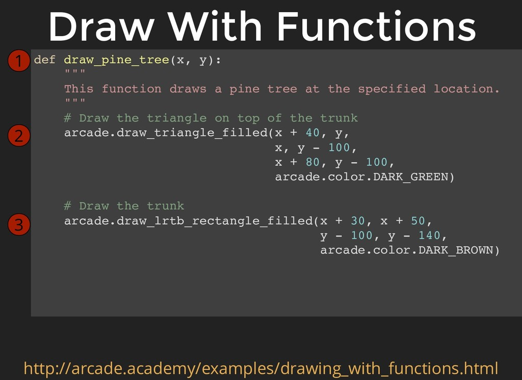 "def draw_pine_tree(x, y): """""" This function dra..."