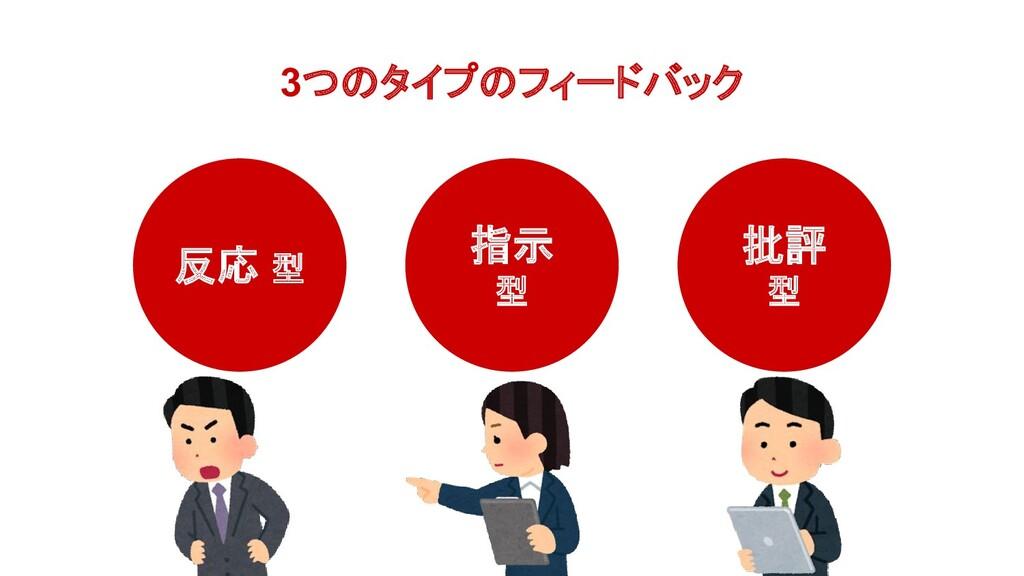 3つのタイプのフィードバック 反応 型 批評 型 指示 型