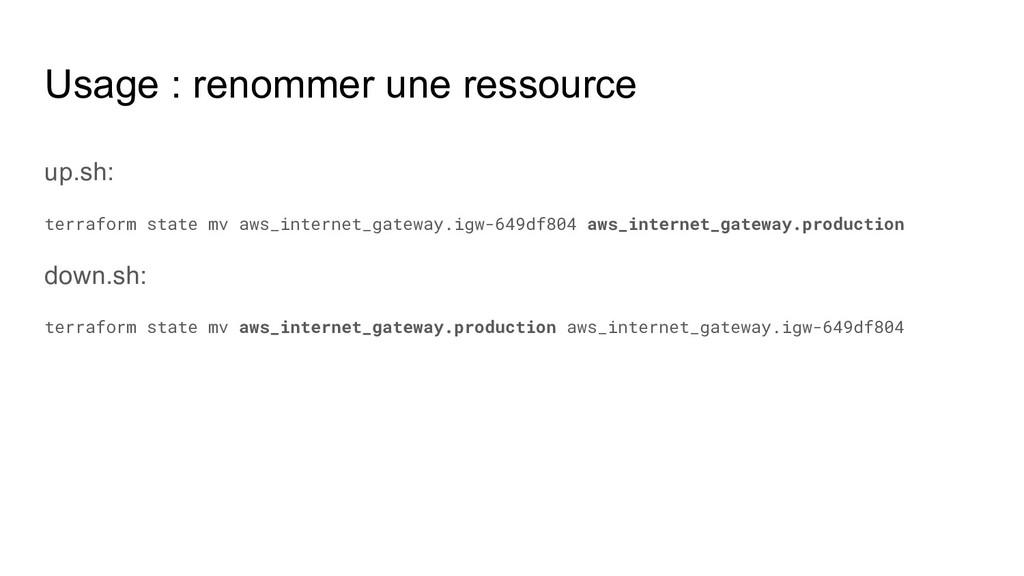 Usage : renommer une ressource up.sh: terraform...