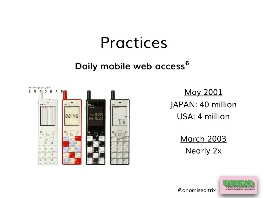 Practices Daily mobile web access⁶ May 2001 JAP...