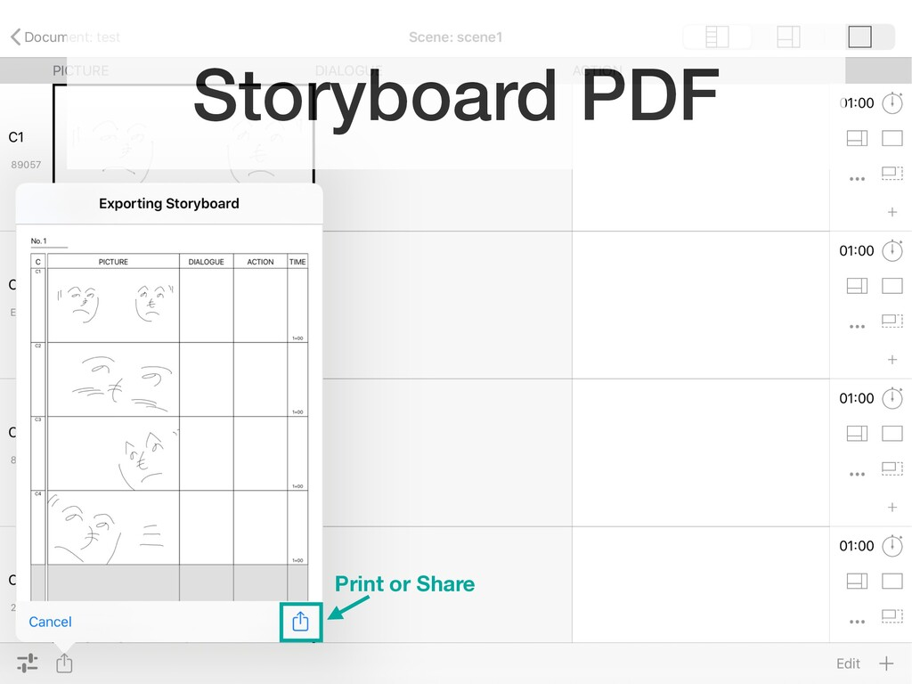 Storyboard PDF Print or Share