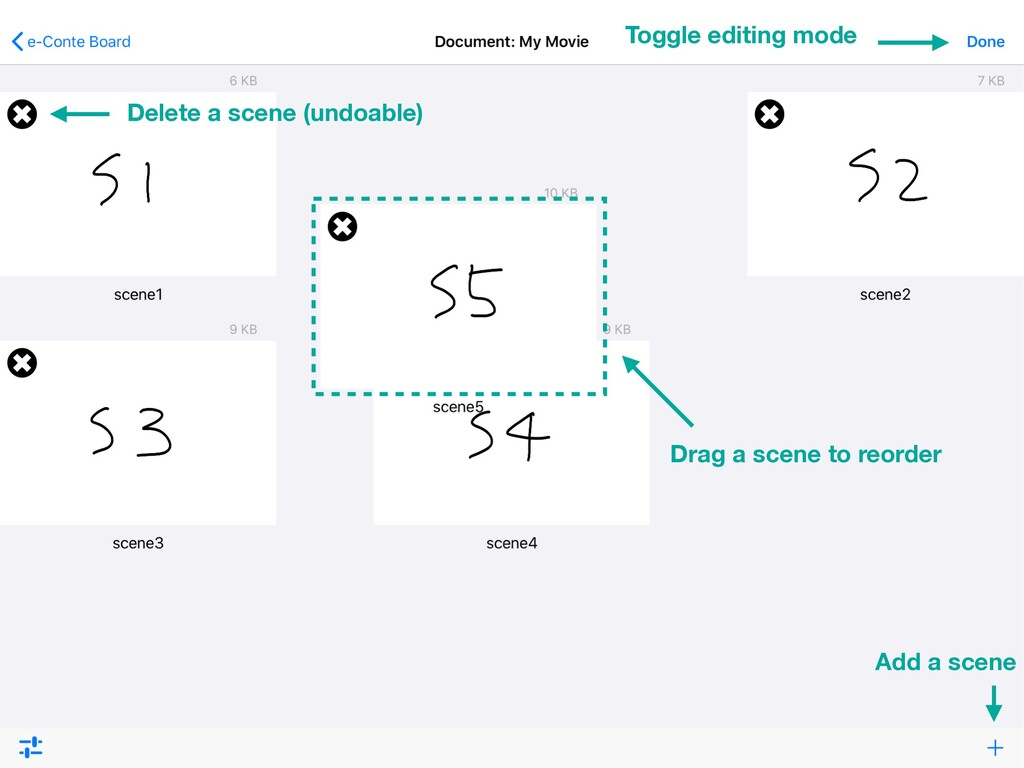 Drag a scene to reorder Toggle editing mode Del...