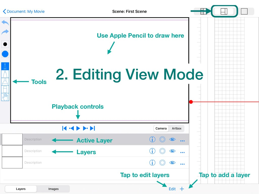 2. Editing View Mode Tools Layers Tap to add a ...