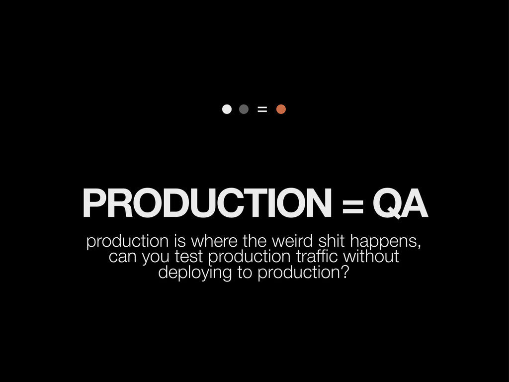 PRODUCTION = QA production is where the weird s...