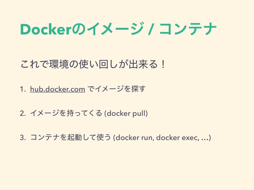 DockerͷΠϝʔδ / ίϯςφ ͜ΕͰڥͷ͍ճ͕͠ग़དྷΔʂ 1. hub.docke...