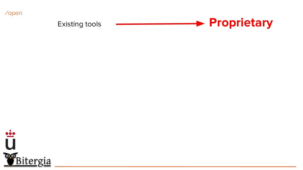 Existing tools Proprietary /open