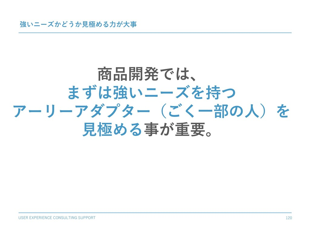 USER EXPERIENCE CONSULTING SUPPORT 120 強いニーズかどう...