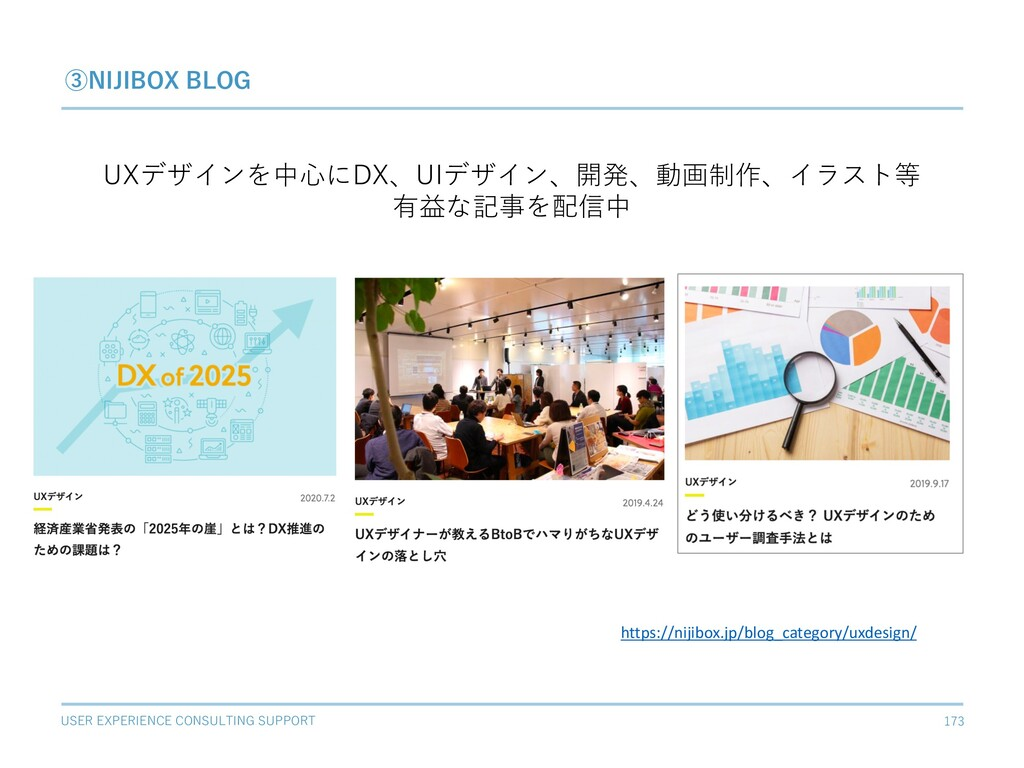 USER EXPERIENCE CONSULTING SUPPORT 173 ③NIJIBOX...