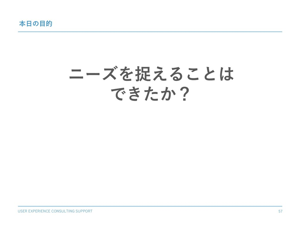 USER EXPERIENCE CONSULTING SUPPORT 57 本⽇の⽬的 ニーズ...