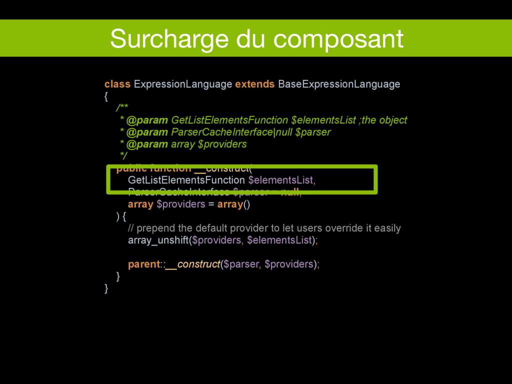 Surcharge du composant class ExpressionLanguage...