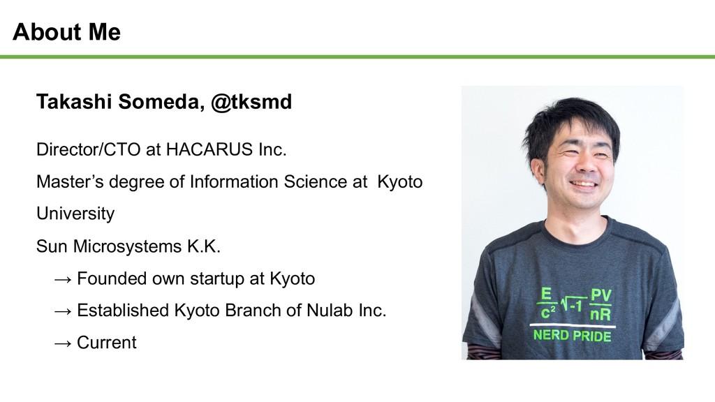 About Me Takashi Someda, @tksmd Director/CTO at...
