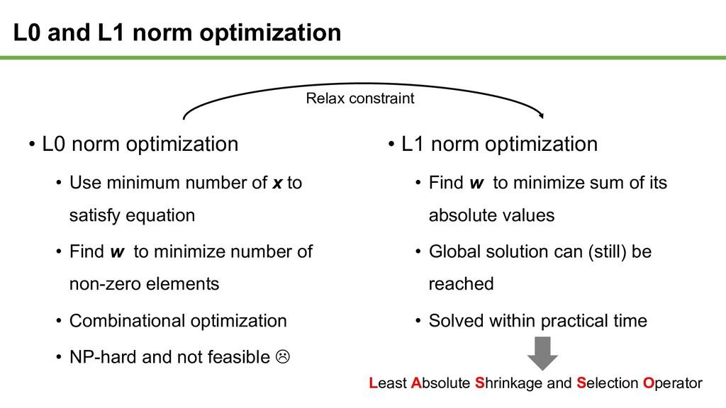 • L0 norm optimization • Use minimum number of ...