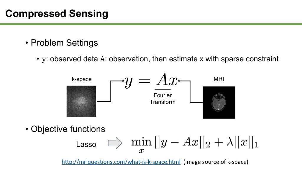 Compressed Sensing • Problem Settings • y: obse...