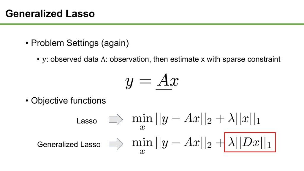 Generalized Lasso Lasso Generalized Lasso • Pro...