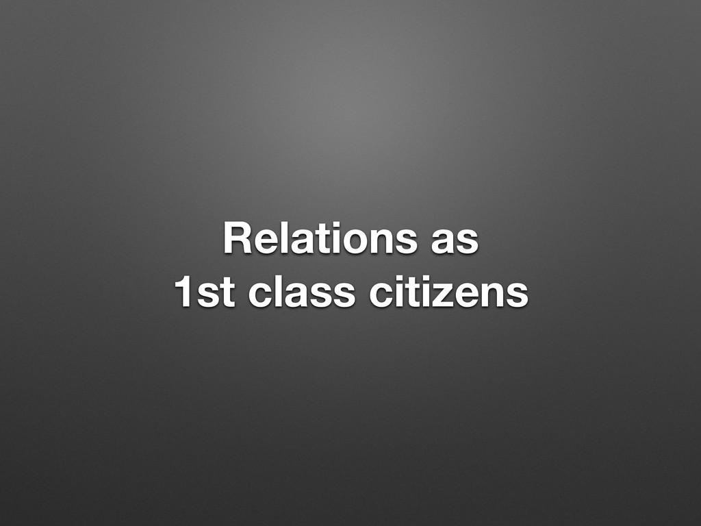 Relations as 1st class citizens