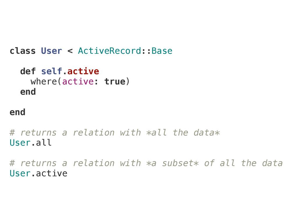 class User < ActiveRecord::Base def self.active...