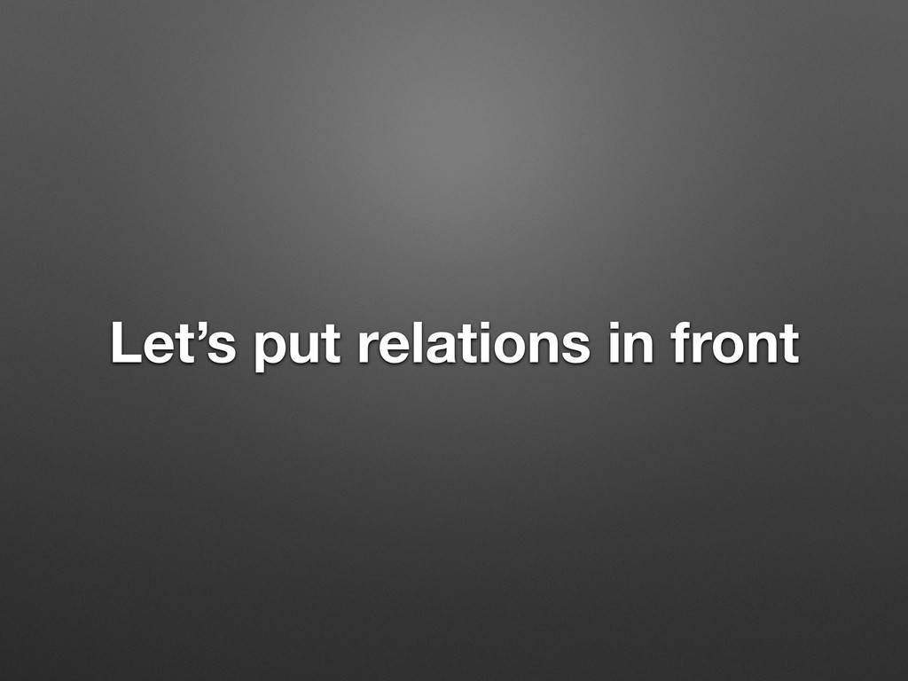 Let's put relations in front