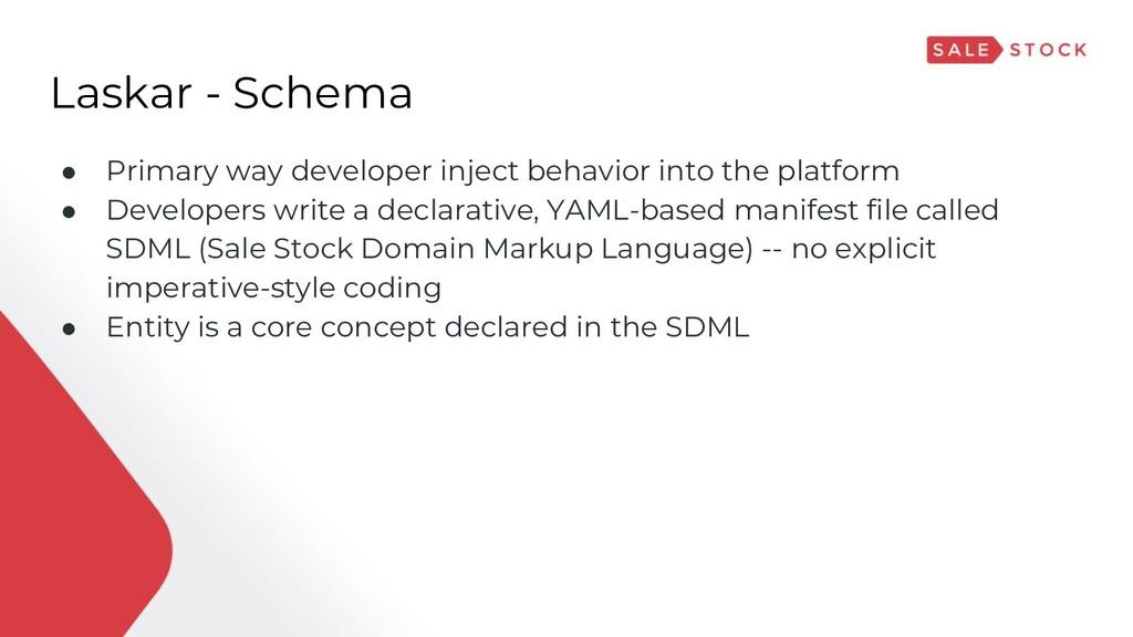 Laskar - Schema ● Primary way developer inject ...