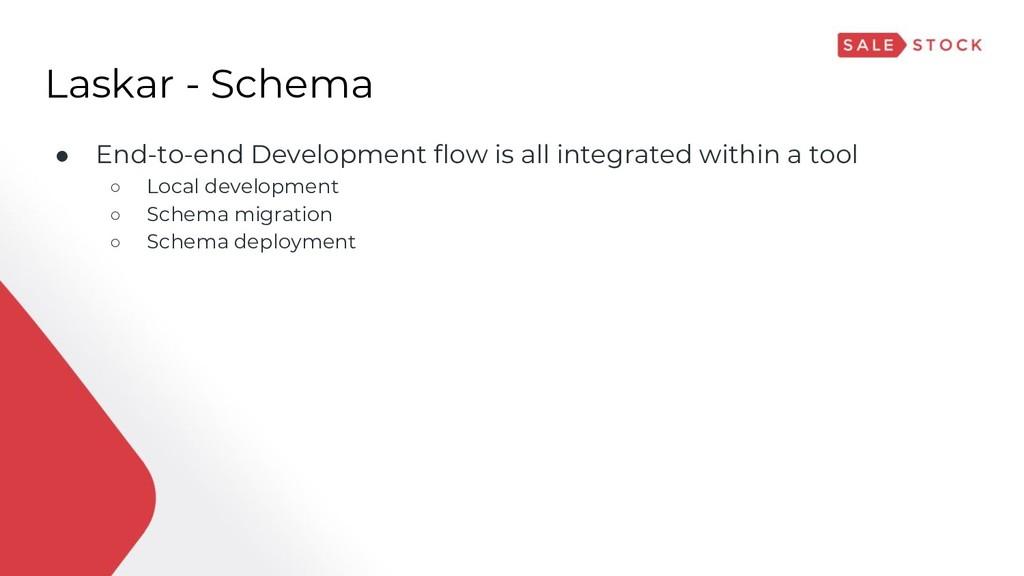 Laskar - Schema ● End-to-end Development flow i...