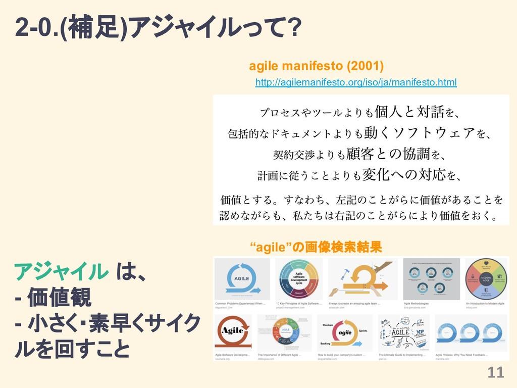 2-0.(補足)アジャイルって? agile manifesto (2001) 11 アジャイ...