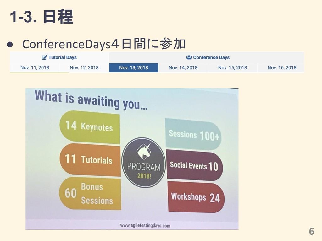 1-3. 日程 6 ● ConferenceDays4日間に参加