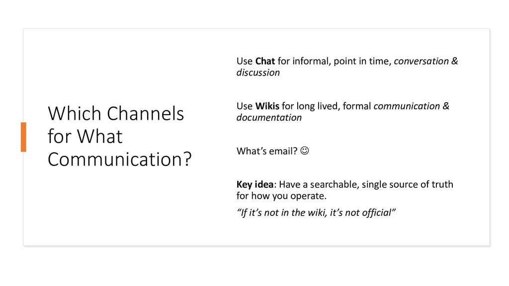 Which Channels for What Communication? Use Chat...