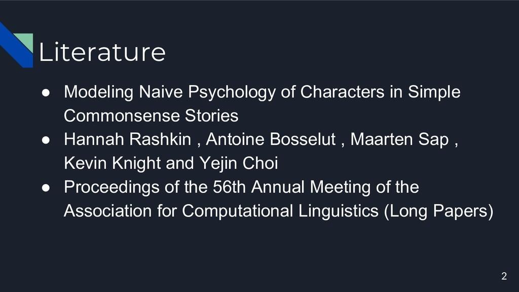 Literature ● Modeling Naive Psychology of Chara...