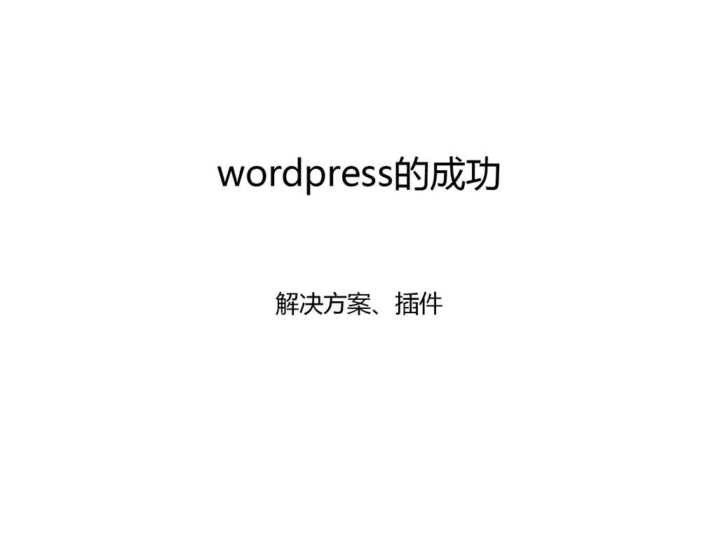 wordpress的成功  解决方案、插件