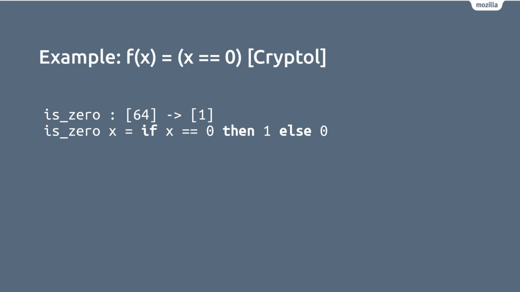 Example: f(x) = (x == 0) [Cryptol] is_zero : [6...