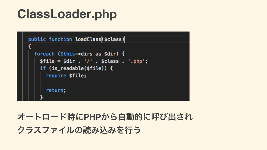 ClassLoader.php ΦʔτϩʔυʹPHP͔Βࣗಈతʹݺͼग़͞Ε ΫϥεϑΝΠϧͷ...