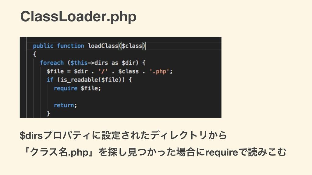 ClassLoader.php $dirsϓϩύςΟʹઃఆ͞ΕͨσΟϨΫτϦ͔Β ʮΫϥε໊....