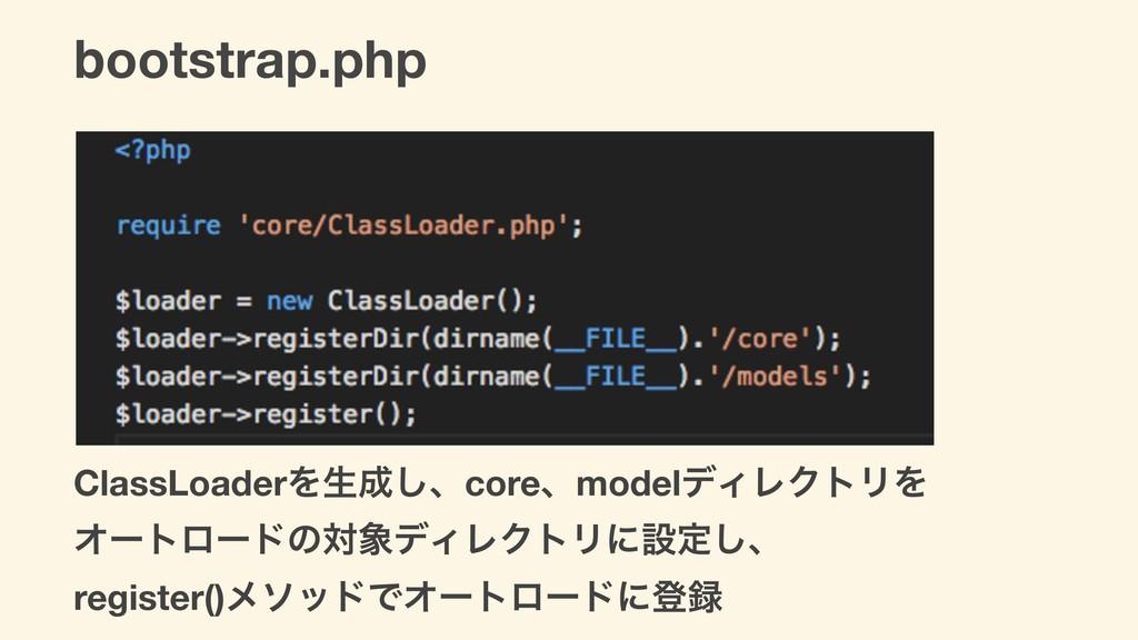 bootstrap.php ClassLoaderΛੜ͠ɺcoreɺmodelσΟϨΫτϦΛ...