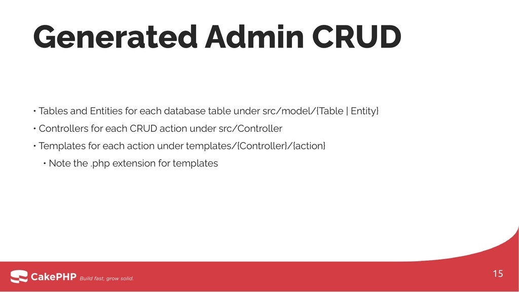 Generated Admin CRUD • Tables and Entities for ...