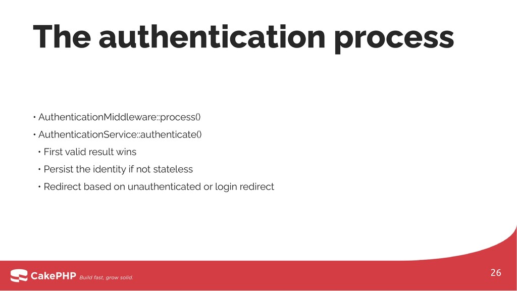 • AuthenticationMiddleware::process() • Authent...