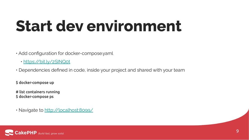 Start dev environment • Add configuration for do...