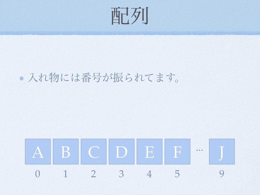 ྻ ೖΕʹ൪߸͕ৼΒΕͯ·͢ɻ A B C E D F J ... 0 1 2 3 4 ...